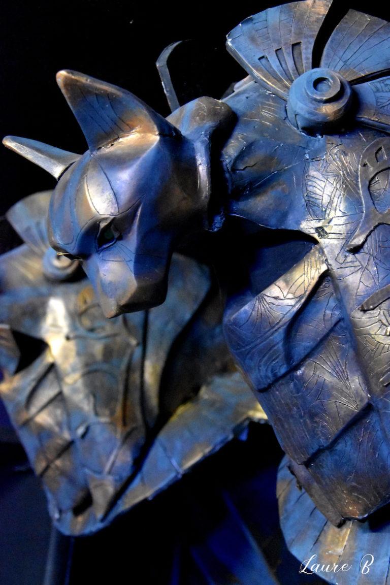 domaine Anubis tête bastet bleue bronze