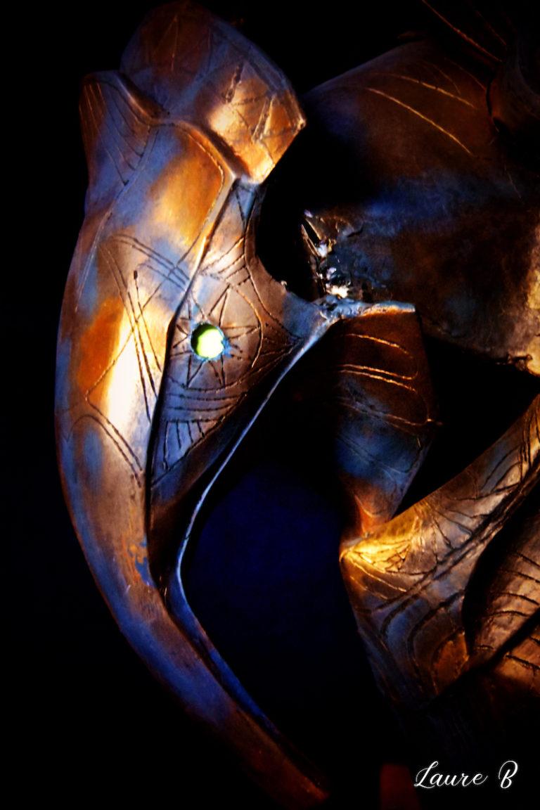 domaine Anubis tête bronze bleue zoom